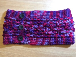 Cabled Tunisian Cowl with buttons
